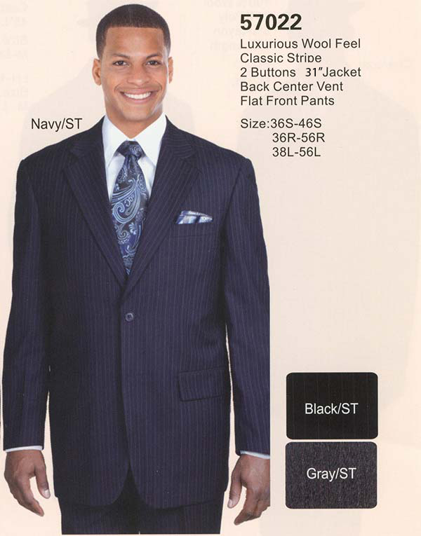 Longstry New York 57022 Mens Church Suit With Classic Stripe