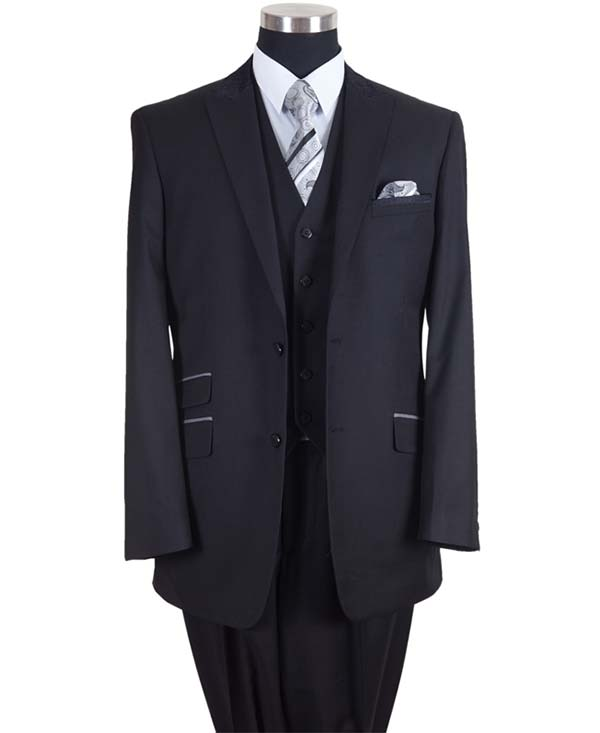 Longstry New York 57023-Black - Two Button Mens Suit With Ticket Pocket