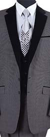 Longstry New York 57024-Gray - Two Button Mens Suit With Velvet Lapel & Vest