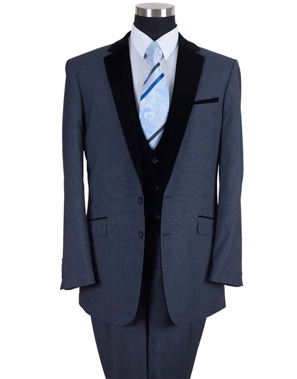 Longstry New York 57024-Navy - Two Button Mens Suit With Velvet Lapel & Vest