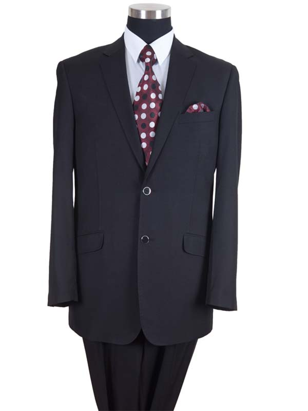 Longstry New York 57026-Black - Two Button Wool Feel Mens Suit