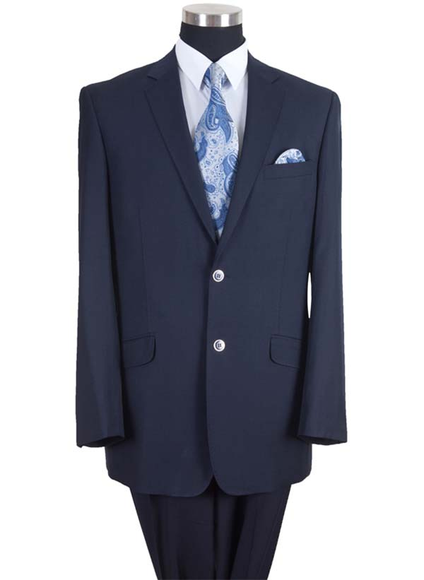 Longstry New York 57026-Navy - Two Button Wool Feel Mens Suit