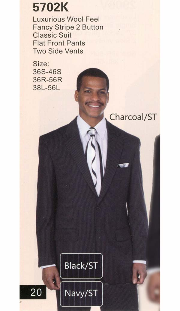 Longstry New York 5702K Mens Two Button Suit With Fancy Stripe