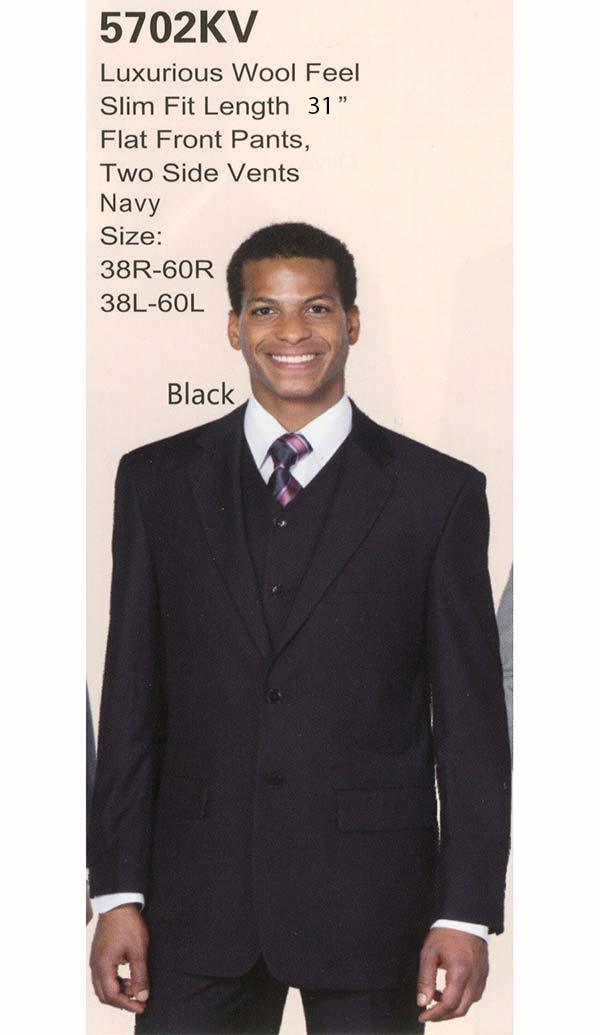 Longstry New York 5702KV Mens Three Piece Slim Fit Suit