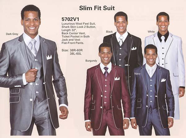 Longstry New York 5702V1 Shark Skin Slim Fit Suit With Ticket Pocket
