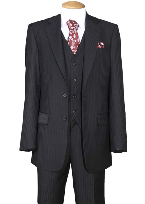 Longstry New York 5702V3-Black - Tone On Tone Striped Mens Three Piece Suit