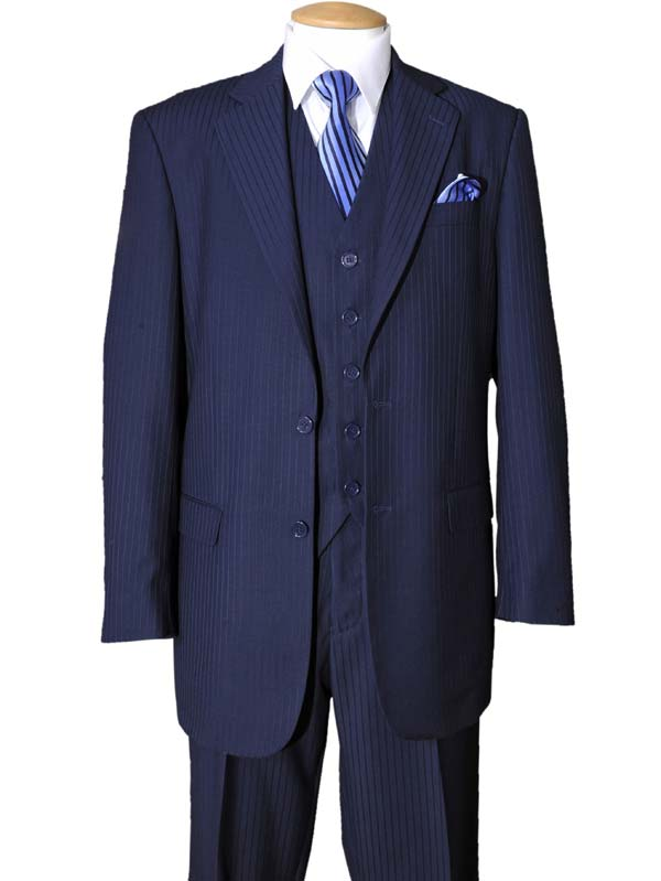 Longstry New York 5702V3-Navy - Tone On Tone Striped Mens Three Piece Suit