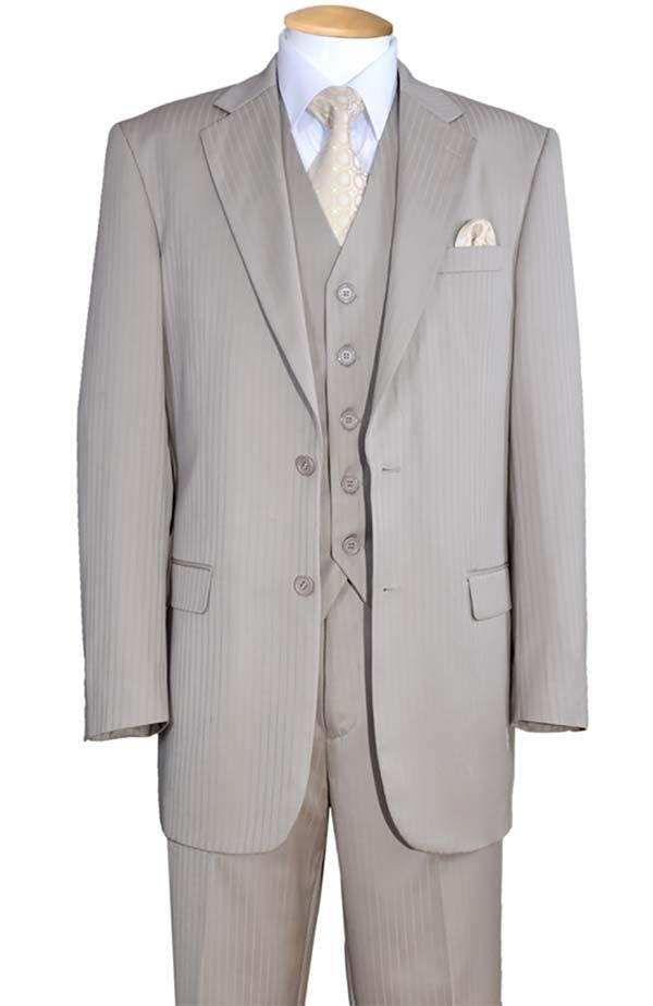 Longstry New York 5702V3-Tan - Tone On Tone Striped Mens Three Piece Suit
