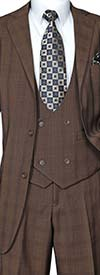 Longstry New York 5702V6-Brown - Mens Suit With Low Cut Double Breasted Vest