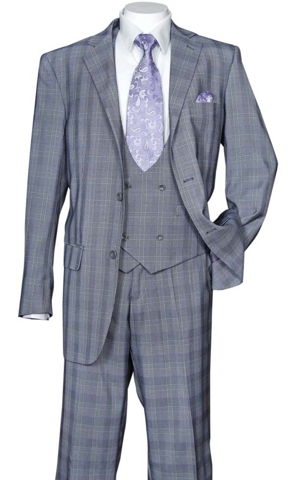 Longstry New York 5702V6-Gray - Mens Suit With Low Cut Double Breasted Vest