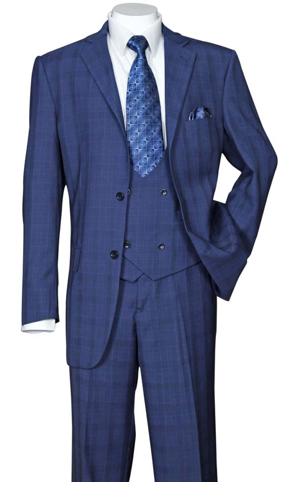 Longstry New York 5702V6-Navy - Mens Suit With Low Cut Double Breasted Vest