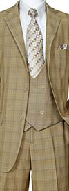 Longstry New York 5702V6-Tan - Mens Suit With Low Cut Double Breasted Vest