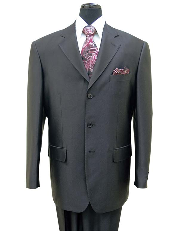 Longstry New York 58025-Black - Shark Skin Look Poly-Rayon Super Wool Feel Mens Suit