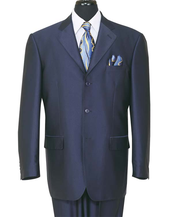 Longstry New York 58025-Navy - Shark Skin Look Poly-Rayon Super Wool Feel Mens Suit