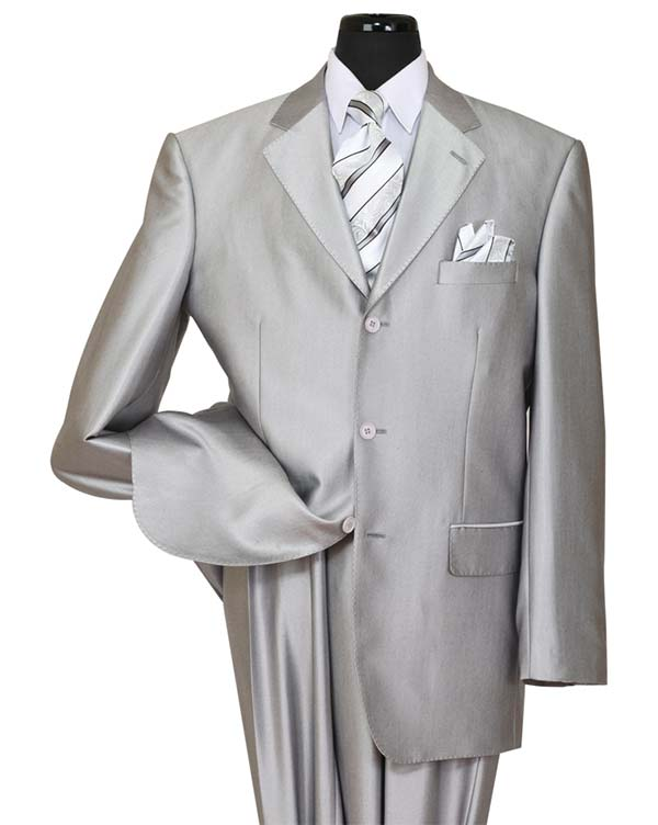 Longstry New York 58025-Silver - Shark Skin Look Poly-Rayon Super Wool Feel Mens Suit