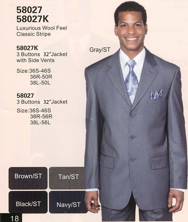 Longstry New York 58027 Church Suit For Men With Classic Stripe