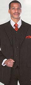 Longstry New York 5802V Mens Three Piece Wool Feel Church Suit