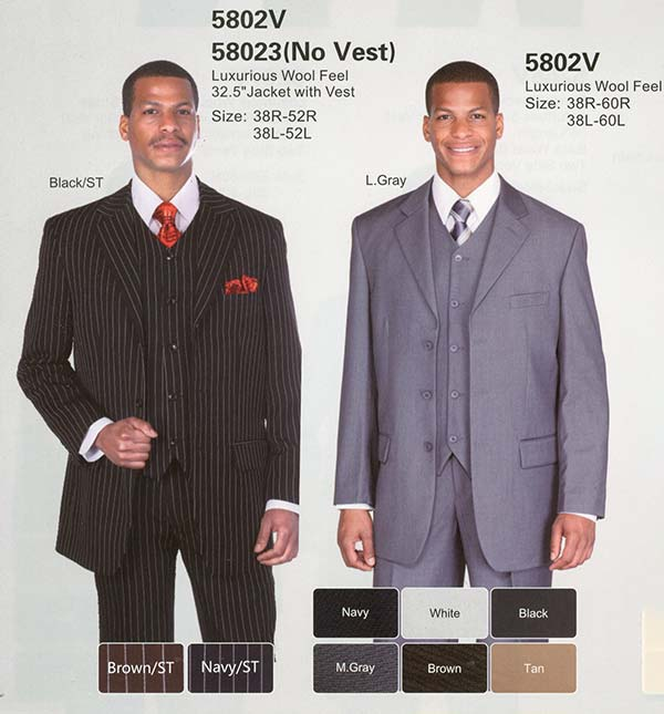 Longstry New York 5802V Mens Three Piece Wool Feel Church Suit
