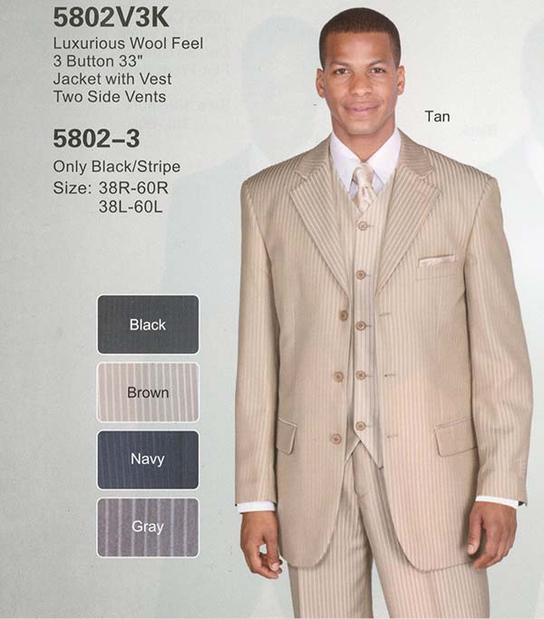 Longstry New York 5802V3K Mens Three Piece Suit For Church