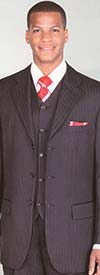 Longstry New York 5802V4K Mens Three Piece Wool Feel Suit