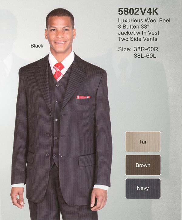 Longstry New York 5802V4K Mens Three Piece Wool Feel Suit