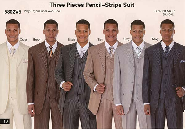 Longstry New York 5802V5 Three Piece Pencil Stripe Suit For Men