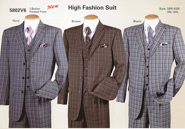 Longstry New York 5802V6 - Mens High Fashion Three Piece Plaid Suit