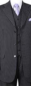Longstry New York 5802V7-Black - Striped Mens Three Piece Suit