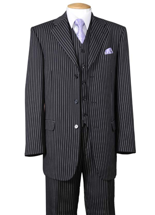 Longstry New York 5802V7-Black - Striped Mens Three Piece Suit
