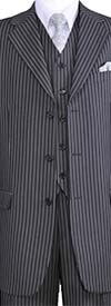 Longstry New York 5802V7-Gray - Striped Mens Three Piece Suit