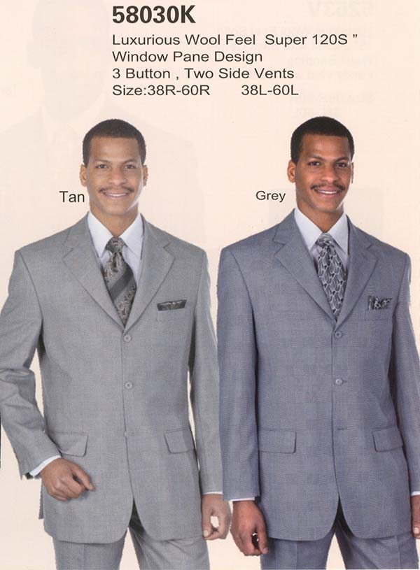 Longstry New York 58030K Mens Window Pane Design Wool Feel Suit