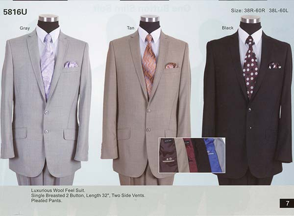 Longstry New York 5816U Two Button Mens Church Suit With Side Vents