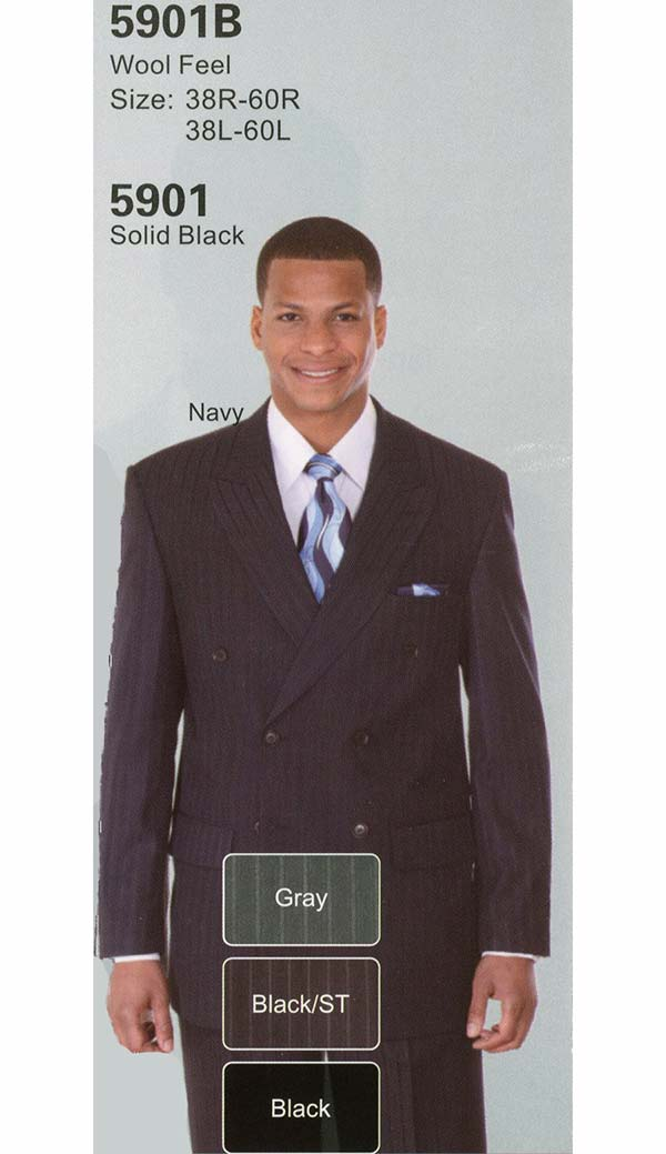 Longstry New York 5901B Mens Striped Double Breasted Church Suit