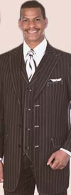 Longstry New York 5903V Mens High Fashion Suit With Stripes