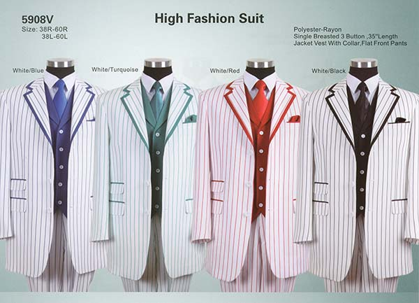 Longstry New York 5908V Mens High Fashion Three Piece Striped Suit