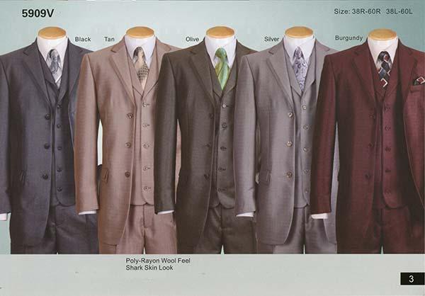 Longstry New York 5909V Mens Poly-Rayon Shark Skin Look Suit