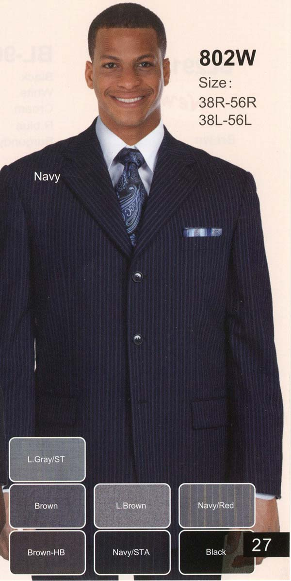Longstry New York 802W Mens Three Button Wool Suit