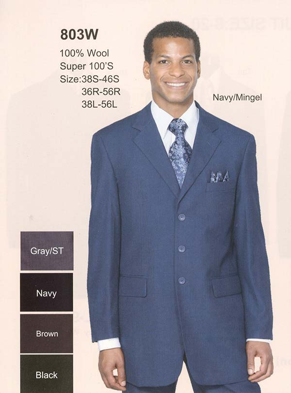 Longstry New York 803W Mens Three Button Wool Suit