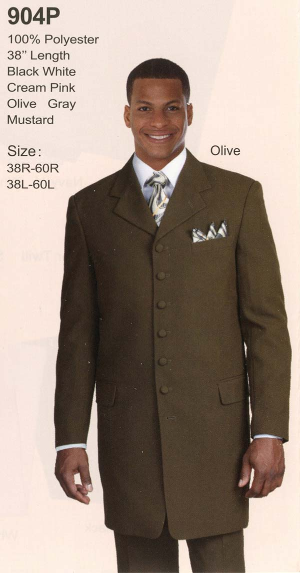 Longstry New York 904P Mens Long Jacket Suit With Seven Buttons