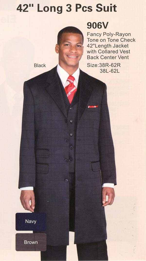 Longstry New York 906V Mens Tone On Tone Suit With Long Jacket