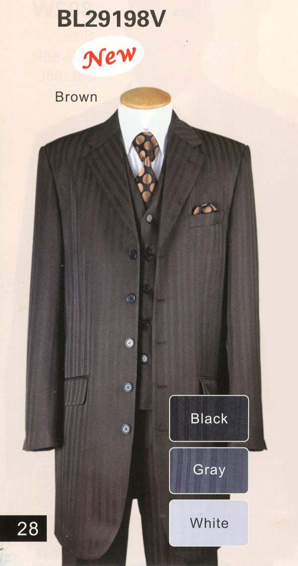 Longstry New York BL29198V Boys Five Button Church Suit With Vest