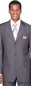 Longstry New York JL5802-Gray - Threee Button Church Suit For Men