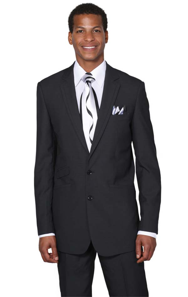 Longstry New York MD5702K-Black Two Button Slim Fit Church Suit For Men