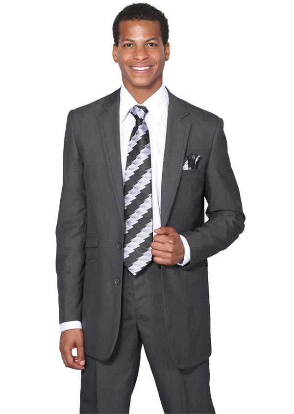 Longstry New York MD5702K-Gray Two Button Slim Fit Church Suit For Men