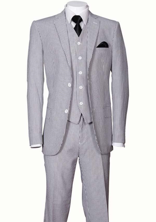Longstry New York ST702V-Black - Slim Fit Mens Seer Sucker Suit With Vest