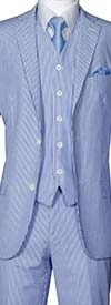 Longstry New York ST702V-Blue - Slim Fit Mens Seer Sucker Suit With Vest
