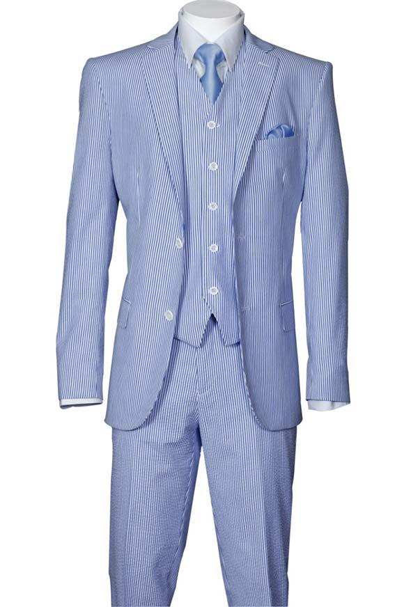 Longstry New York ST702V-Blue - Slim Fit Mens Seer Sucker Suit With Vest