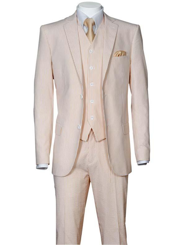 Longstry New York ST702V-Peach - Slim Fit Mens Seer Sucker Suit With Vest