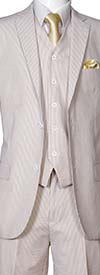 Longstry New York ST702V-Tan - Slim Fit Mens Seer Sucker Suit With Vest