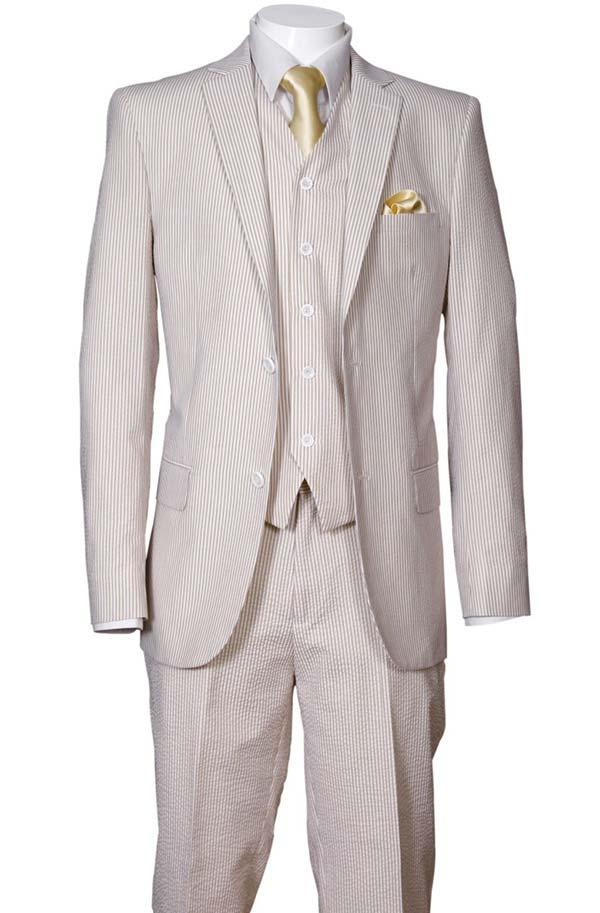 Longstry New York ST702V-Tan - Slim Fit Mens Seer Sucker Suit With Vest